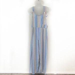 Vintage Moda International Loose Plaid Overalls